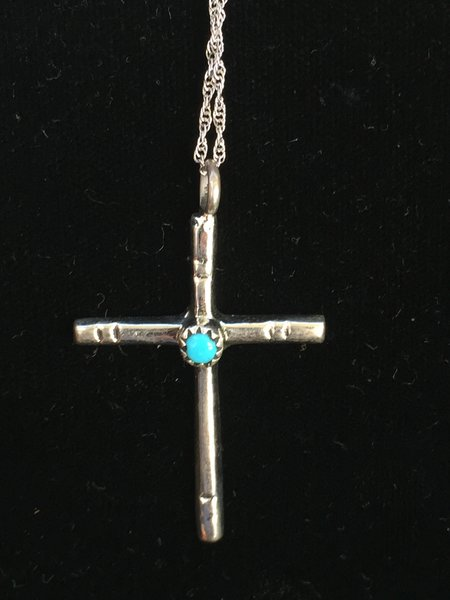 "HANDMADE STERLING SILVER CROSS GENUINE TURQUOISE CABACHON 18"" CHAIN"