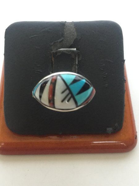 Signed Zuni multi stone inlay ring. Turquoise, coral, MOP, jet.