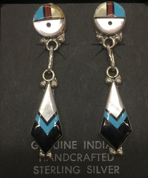 Zuni sunface multi stone dangle earrings sterling silver.