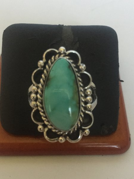 Signed Gene Martinez turquoise & sterling silver ring