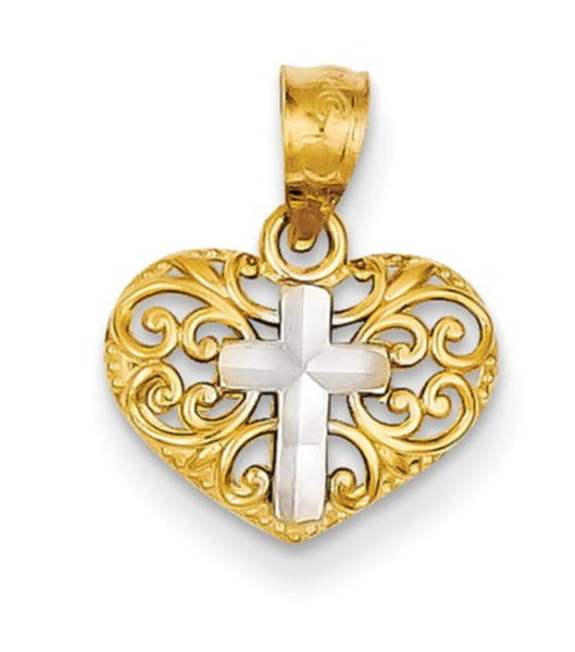 14K TWO TONE GOLD CROSS ON HEART PENDANT