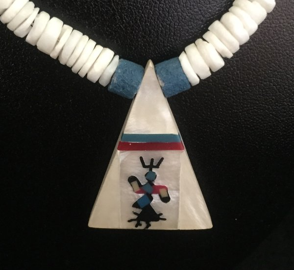 HEISHI STYLE SHELL, SILVER, AND TURQUOISE KACHINA INLAY NECKLACE
