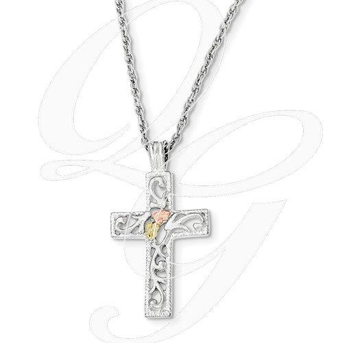 12k Black Hills gold rose gold and sterling cross