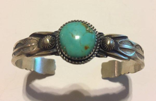 Signed MC sterling silver antique finish & turquoise bracelet.