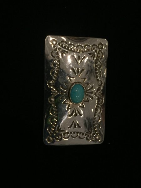 HANDMADE & ENGRAVED STERLING SILVER & TURQUOISE MONEY CLIP