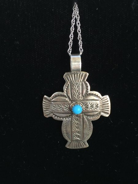 "STERLING SILVER CONCHO CROSS WITH TURQUOISE CABACHON 18"" CHAIN"