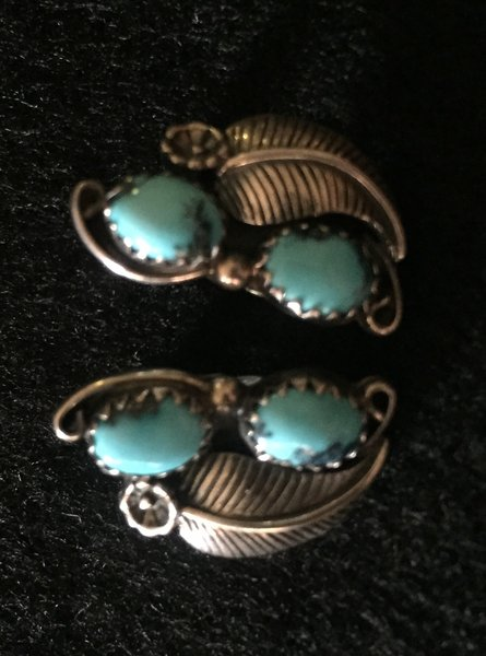 GENUINE TURQUOISE STERLING SILVER NAVAJO FEATHER CLIP ON EARRINGS