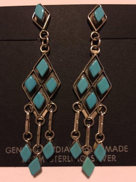 Diamond shape turquoise dangle earrings. Sterling silver.