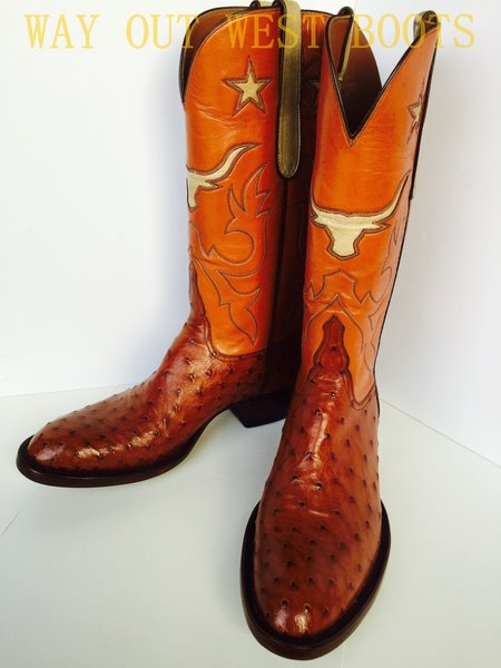 WAY OUT WEST BOOTS VAQUERO STYLE COWBOY BOOTS IN FULL QUILL OSTRICH AND GOAT INLAY