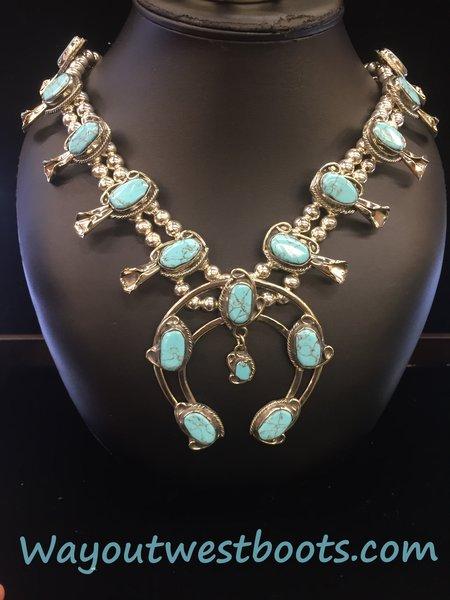 Genuine Number 8 Mine Turquoise & coin silver(720) Squash Blossom neckalce bracelet earrings set