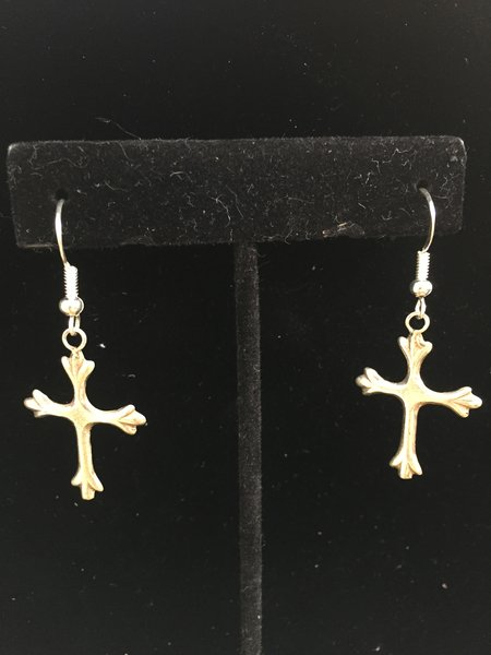 HANDMADE STERLING SILVER CROSS DANGLE EARRINGS