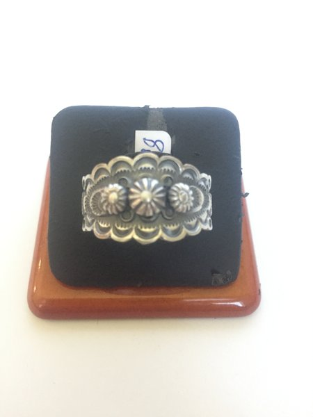 Signed Navajo sterling silver wide band