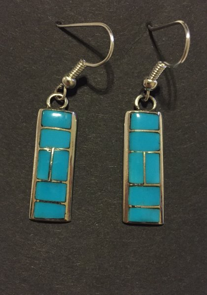 Zuni Rectangle turquoise & sterling silver earrings.