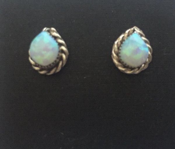 White opal & sterling silver tear drop studs