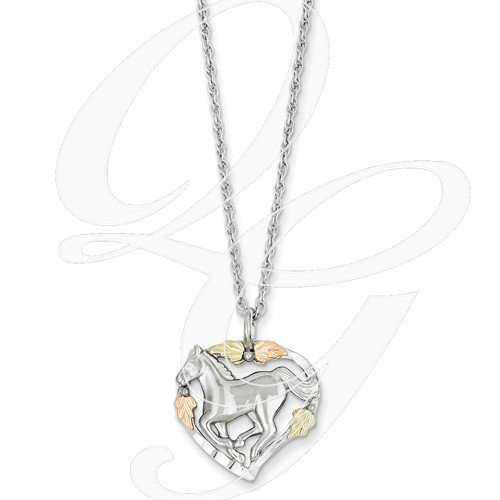 horse in heart necklace 12k gold sterling silver