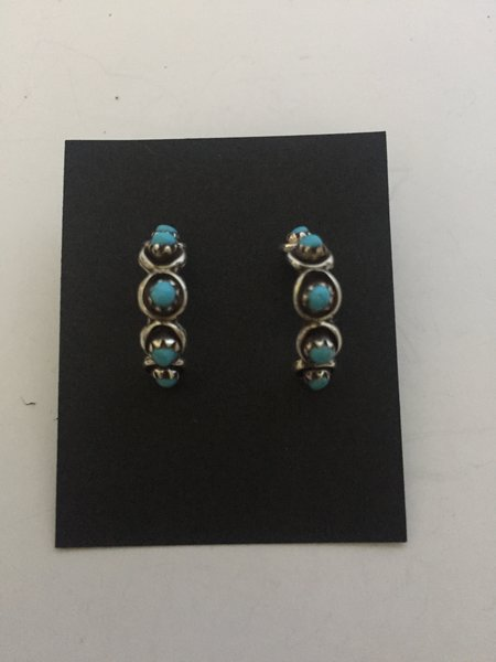 Stering silver & turquoise small half hoops