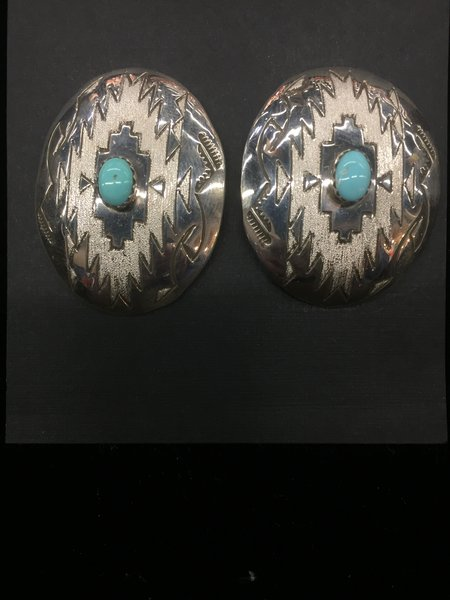 Stamped & frosted sterling silver & turquoise concho earrings