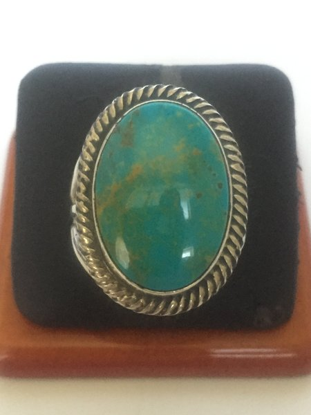 Signed Rick Martinez Navajo sterling silver & turquoise ring.