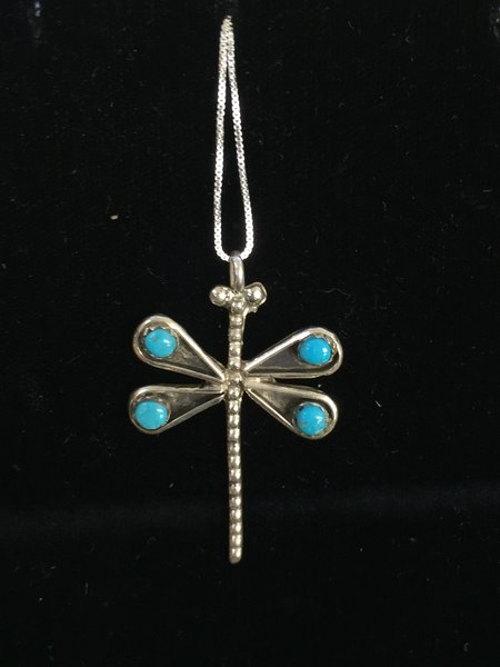 "HANDMADE STERLING SILVER DRAGON FLY PENDANT 18"" CHAIN"