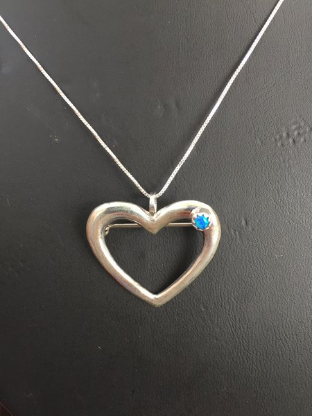 """STERLING SILVER HEART PENDANT/PIN BLUE MOTHER OF PEARL WITH 18"""" STERLING SILVER CHAIN"""