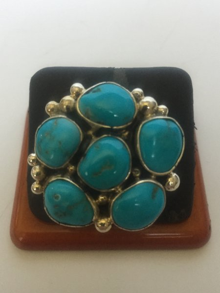Signed Aron Davis Navajo cluster ring. Turquoise & sterling silver.