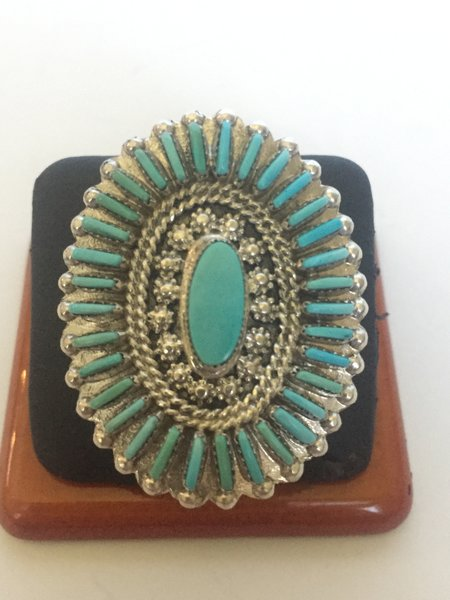 Signed T. Loncasion Zuni petit point turquoise & sterling ring