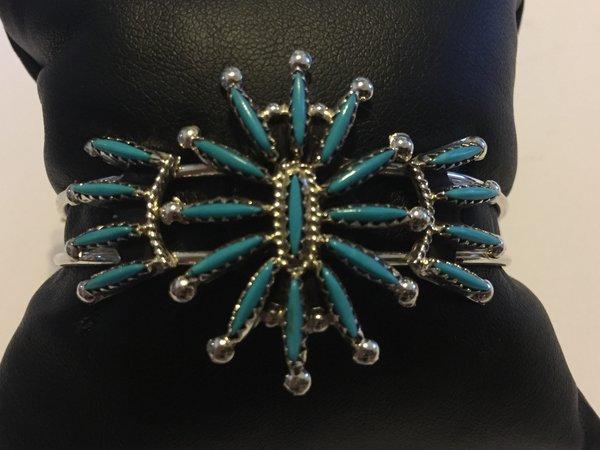 Signed zuni needle point sterling & turquoise bracelet.