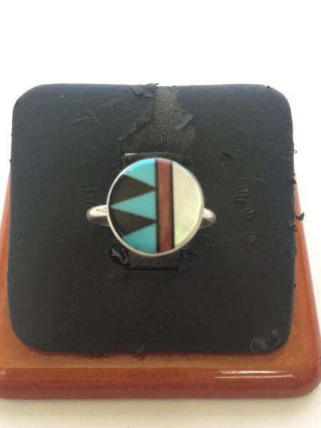 Zuni multi stone inlay ring. Sterling silver, turquoise, coral, MOP & onyx