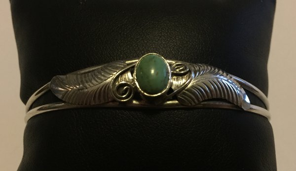 Signed feather & turquoise sterling silver bracelet