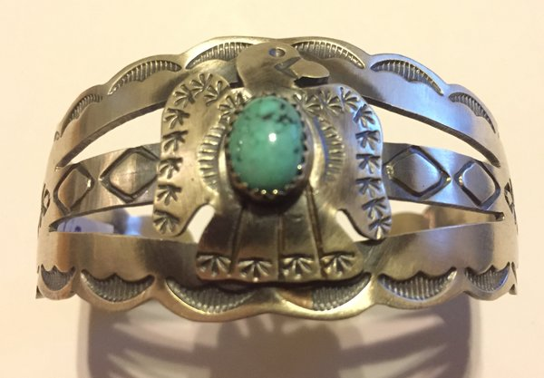 Tim Tazzie thunderbird bracelet. Antique sterling silver & turquoise.