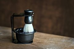 Shaving Stand with Brush, Bowl and Handcrafted Soap