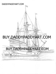 "Mayflower II Ship - Rendering 17""X 24"""
