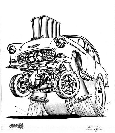 """55 Chevy Gasser . SIGNED PRINT on 17""""x 24"""" paper"""