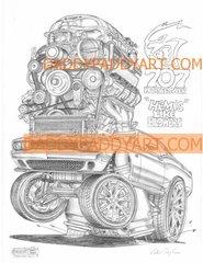 "2015- Challenger SRT8 Hellcat- Print 17""x 24"""