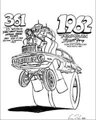 """1962 Plymouth Fury SIGNED PRINT ON 17""""X 24"""" PAPER"""