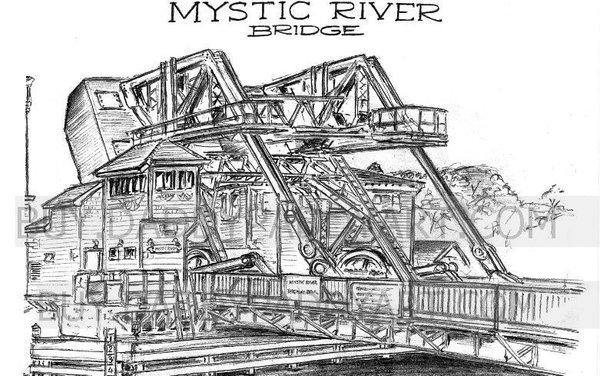 """Mystic River Bridge Connecticut front view 17""""x 24"""""""