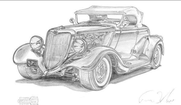 """34 Ford signed print of pencil drawing 17"""" x 24 """" paper"""