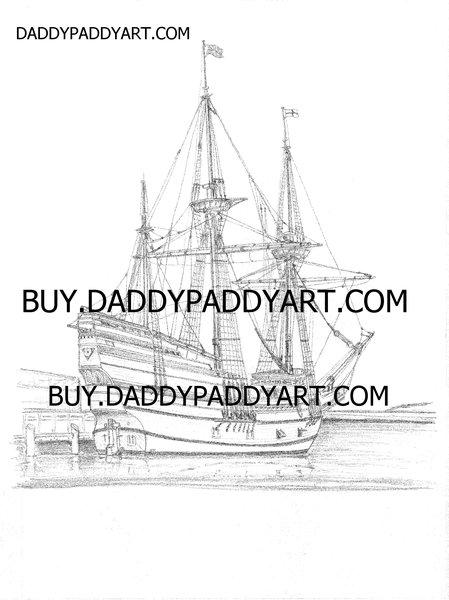 """Mayflower II Ship - Rendering 17""""X 24"""""""