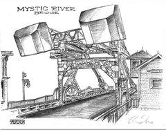 "Mystic River Bridge Connecticut rear view 17""x 24"""