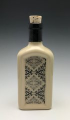Square flask with Victorian wallpaper design