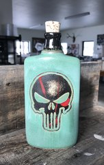 Skull Hip Flask in Weathered Bronze