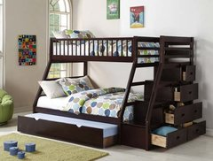 Twin over Full Staircase Bunkbed With Trundle