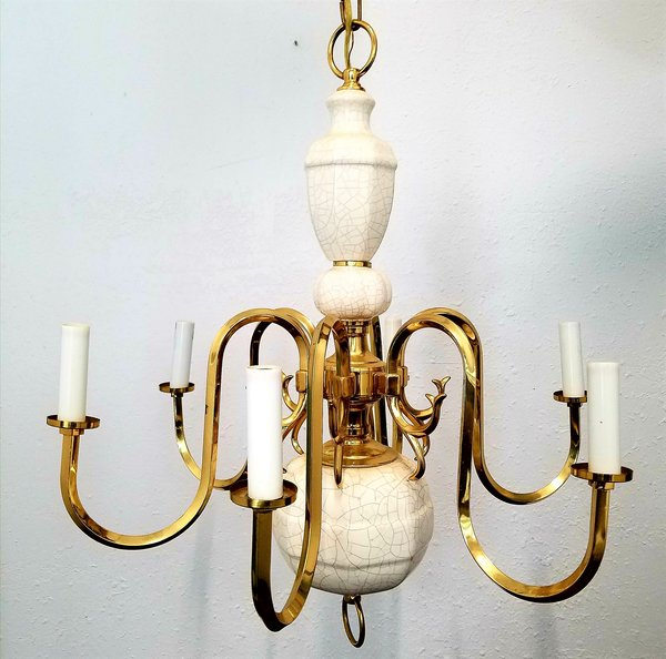 Vintage white porcelain and brass chandelier onlinethriftoutlet vintage white porcelain and brass chandelier aloadofball Gallery