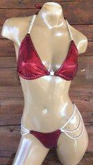 Red on black hologram bikini