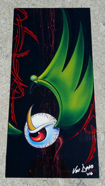 """Red PINSTRIPED """"Artist Proof""""- Glossy Mounted Flying Eyeball"""