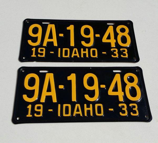 Matching Pair of Original 1933 Idaho Lic. Plates