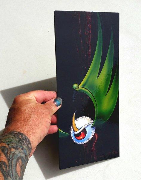 SMALL Green Flying Eyeball - MOUNTED Glossy Art Print