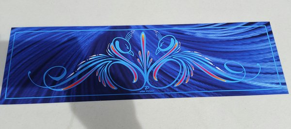 Blue pinstriped Swans - Glossy Art Print
