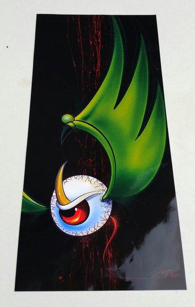 SMALL Green Flying Eyeball - Glossy Art Print
