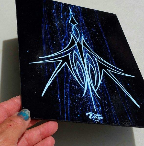 Blue Pinstiping - Mounted Glossy Art Print